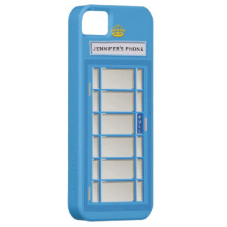 Retro British Telephone Booth Blue Personalized iPhone 5 Cover