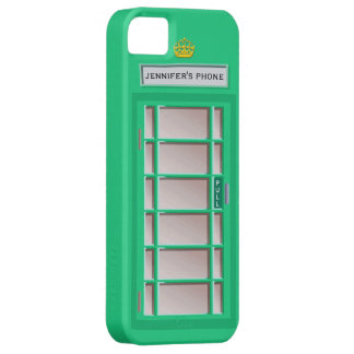 Retro British Telephone Booth Green Personalized iPhone 5 Covers