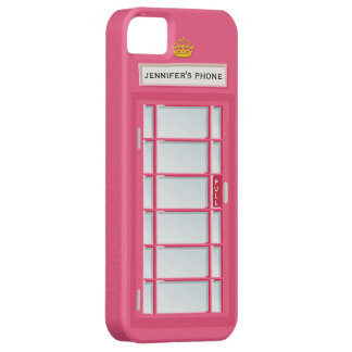 Retro British Telephone Booth Pink Personalized Case For The iPhone 5