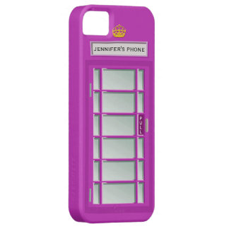 Retro British Telephone Booth Purple Personalized iPhone 5 Case