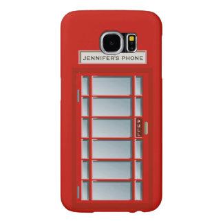 Retro British Telephone Booth Red Pattern Monogram Samsung Galaxy S6 Cases