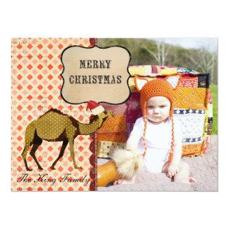 Retro Bronze Camel Christmas Photo Card 17 Cm X 22 Cm Invitation Card