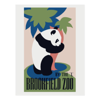 Retro Brookfield Zoo panda ad Postcard