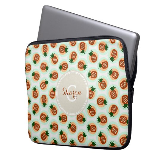 Retro brown and mint pineapple patterns monogram laptop sleeve
