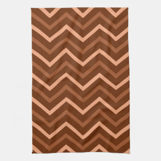 Retro Brown And Peach Chevron Pattern Zigzag Tea Towel