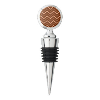 Retro Brown And Peach Chevron Pattern Zigzag Wine Stopper