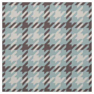 Retro brown and teal houndstooth plaid pattern fabric