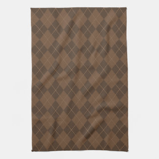 Retro Brown Argyle Kitchen Towel