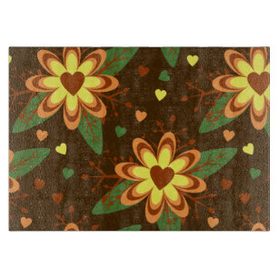 Retro Brown Floral Heart Pattern Cutting Board