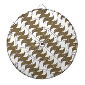 Retro Brown Wave Pattern Dartboard With Darts