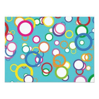 Retro Bubbly Circles 14 Cm X 19 Cm Invitation Card