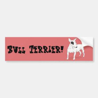 Retro Bull Terrier Doodle on Peach Background Car Bumper Sticker