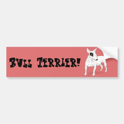 Retro Bull Terrier Doodle on Peach Background Bumper Sticker
