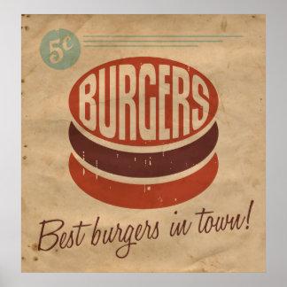 Retro Burger Print