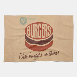 Retro Burger Tea Towel