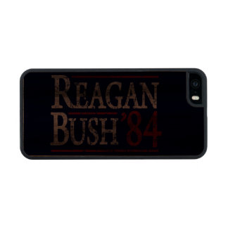 Retro Bush Reagan 84 Election Carved® Walnut iPhone 5 Slim Case