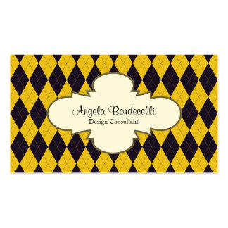 Retro Business Card Decorative Argyle Pattern