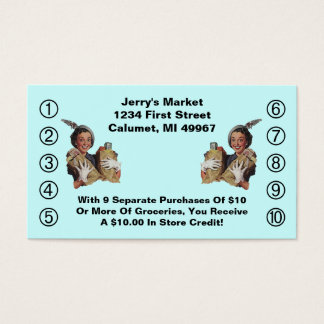 Retro Business Punch Cards Happy Grocery Shopper
