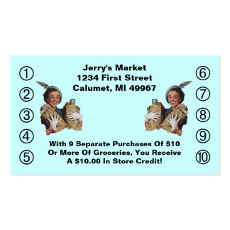 Retro Business Punch Cards Happy Grocery Shopper Pack Of Standard Business Cards