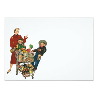 Retro Busy Grocery Shopping Coupon Party Blank 5x7 Card