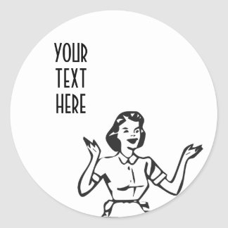 Retro Busy Housewife Round Sticker