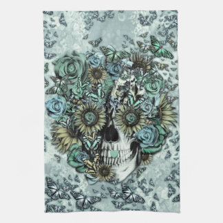 Retro butterfly rose skull kitchen towels