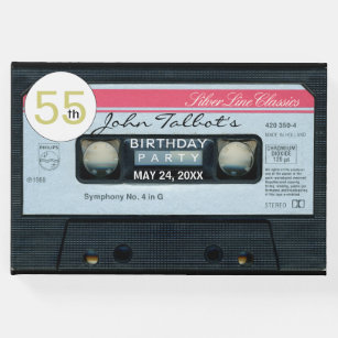 Retro C Audiotape 55th Birthday Party Guest Book