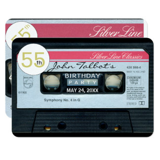 Retro C Audiotape 55th birthday Party Invitation
