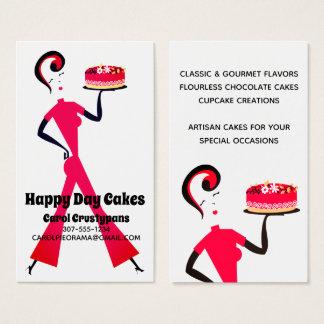 Retro cake girl home baking bakery business cards
