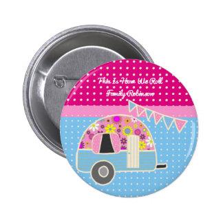 Retro Camper Accessories Pink Blue Personalized 6 Cm Round Badge