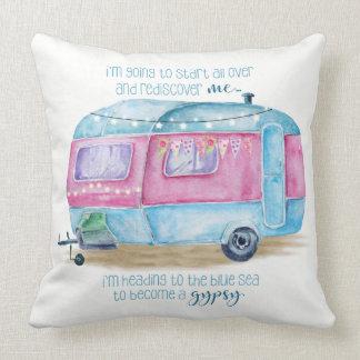 Retro Camper Caravan Blue, Pink and White Cushion