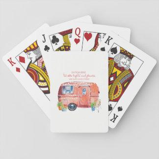 Retro Camper Caravan Watercolor Playing Cards