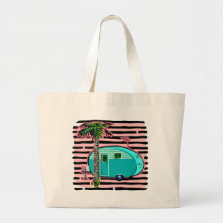 Retro Camper in Pin and Turquoise Tote Bag