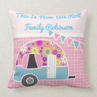 Retro Camper Pink Blue Personalized Cushion