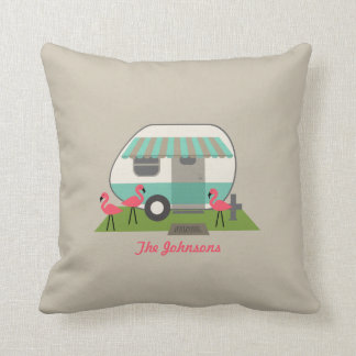 Retro Camper With Flamingos Pillow