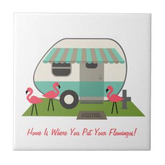 Retro Camper With Flamingos Tile