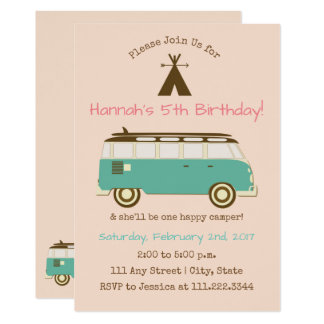 Retro, Camping Birthday Invite- Special Bday Card