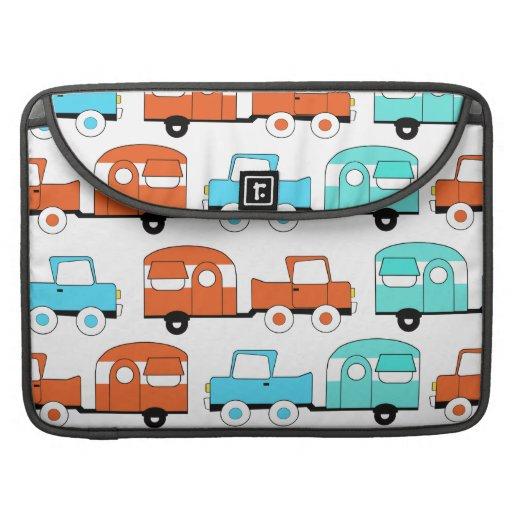 Retro Camping Trailer Turquoise Orange Vintage Car MacBook Pro Sleeve