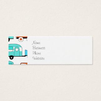 Retro Camping Trailer Turquoise Orange Vintage Car Mini Business Card