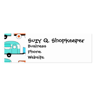 Retro Camping Trailer Turquoise Orange Vintage Car Pack Of Skinny Business Cards