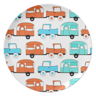 Retro Camping Trailer Turquoise Orange Vintage Car Plate