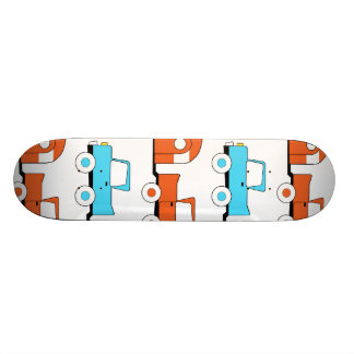 Retro Camping Trailer Turquoise Orange Vintage Car Skate Deck