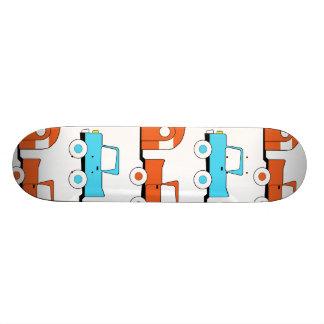Retro Camping Trailer Turquoise Orange Vintage Car Skate Deck