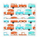 Retro Camping Trailer Turquoise Orange Vintage Car Stretched Canvas Prints