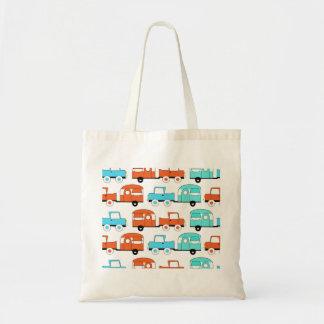 Retro Camping Trailer Turquoise Orange Vintage Car Tote Bag