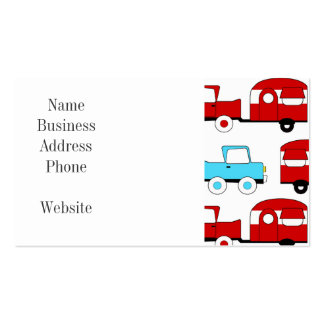 Retro Camping Trailer Turquoise Red Vintage Cars Business Card Templates