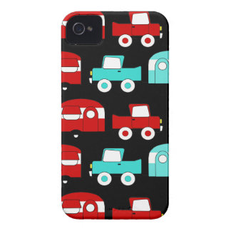 Retro Camping Trailer Turquoise Red Vintage Cars Case-Mate iPhone 4 Cases
