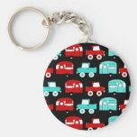Retro Camping Trailer Turquoise Red Vintage Cars Basic Round Button Key Ring