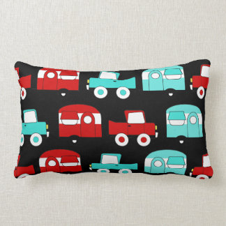 Retro Camping Trailer Turquoise Red Vintage Cars Lumbar Cushion