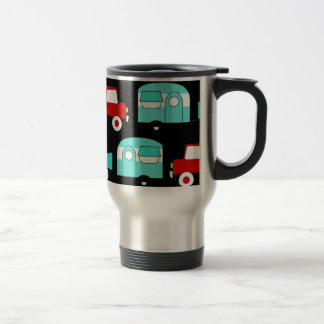 Retro Camping Trailer Turquoise Red Vintage Cars Mugs